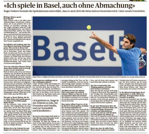 Will Roger Federer renew his contract with Swiss Indoors, Basel? - Basel